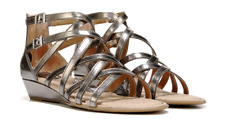 NEW BORN B.O.C MIMI PEWTER GLADIATOR SANDALS WOMENS 8 Z43514 ZIPS ON BACK