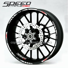 Speed Tripple 1050 motorcycle wheel decals rim stripes stickers laminated white