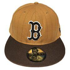 Boston Red Sox Fitted Hat Cap 7 1/4 Brown Tan Pinstripe MLB Baseball New Era