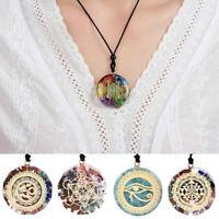 7 Chakra Naturstein Energie Anhänger Halskette Yoga Reiki Heil Amulett Halsreif