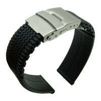 20 22 24mm Waterproof Sport Silicone Rubber Replacement Buckle Watch Band Strap