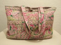 Vera Bradley Large Weekender Bag Pink Paisley Travel Tote Inside Pockets