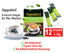 Papparich Delicious White Coffee Stevia Natural Sugar Replacement 12 Stick x 30g