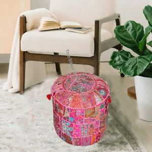 """18"""" Indian Embroidered Cotton Round Seat Cover Bohemian Patchwork Ottoman Pouffe"""