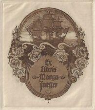 ANONYM: Exlibris für Marga Jaeger, Segelschiff, Rosen