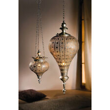 Indoor Decor Antique Silver Oriental Metal Hanging Pendant Light Candle Lantern