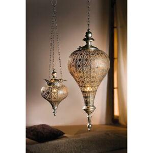 Indoor Decor Antique Silver Oriental Metal Hanging Pendant Light Candle Lantern