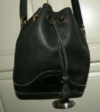 DOONEY & BOURKE Black AWL Leather Drawstring Bucket Purse Bag-VERY NICE
