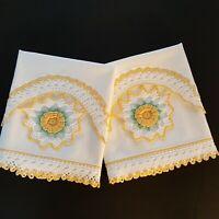 Pair Vintage Pillowcases Yellow Crochet Rose Medallion Insert - 100% Cotton
