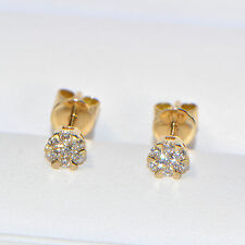 Diamant Ohrstecker 0,17 ct in 750er Gelbgold (18K) Pavé Ohrringe Illusion rund