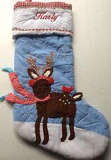 Pottery Barn Kids Christmas Reindeer Stocking KARLY NEW Blue