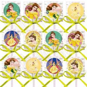 Belle Beauty & the Beast Lollipops Party Favors w/ Yellow Ribbon Bows 12PCS