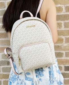Michael Kors Erin Abbey Medium Backpack MK Signature Vanilla Pink Powder Blush