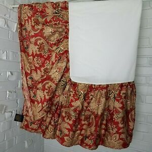"""Ralph Lauren Home Jacobian Paisley Dust Ruffle Bed Skirt QUEEN Drop 14"""" Split"""
