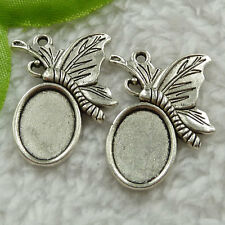 Free Ship 100 pieces tibet silver butterfly frame charms 29x23mm #1518