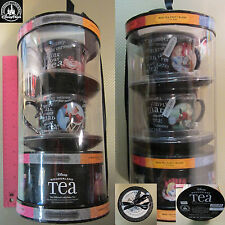 New Authentic Org Disney Parks Alice in the Wonderland 2 Black Tea Cups Gift Set