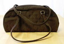 Vintage Vera Bradley Espresso Brown Quilted Satchel Handbag Purse