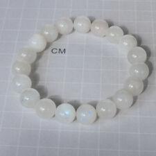 153.7Ct Natural Blue Moonstone Round Beads Bracelet UBML5