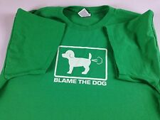 Blame The Dog T-Shirt Mens XL Who Farted Funny Green Puppy Tee X-Large Adult