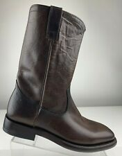FRYE Weston Distressed Espresso Brown Leather Western Rodeo Boot Men 9 D M NEW