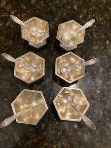 Set Of 6 Vintage Sterling Silver Salt Cellars with Spoons