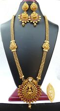 Antique Gold Plated Indian Temple 13'' Long Necklace earrings Golden Tikka Ring/