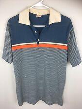 Vintage Wrangler Wranch Polo Shirt Striped Short Sleeve Western Hipster Medium