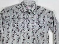 Wrangler Long Tail mens shirt floral western pearl snap single needle vintage