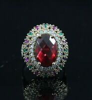 925 Sterling Silver Handmade Authentic Turkish Ruby Ladies Ring Size 7-9