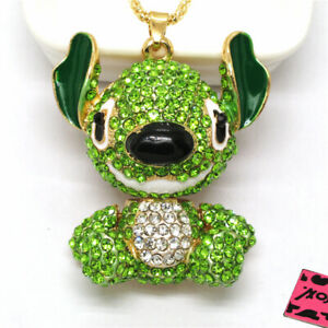 Betsey Johnson Green Big Ear Alien Animal Crystal Pendant Chain Necklace
