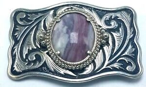 Vtg Metal Western Belt Buckle - western Scroll w Purple Stone