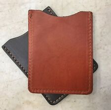 LEATHER CARD HOLDER - CHESTNUT BROWN Minimalist Wallet - Amish Handmade in USA