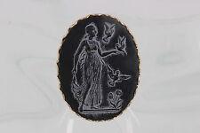 Black Stone Cameo 0516B Lady W/ Birds On
