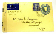 British Wwll Air Mail Cover sent from Freash Water Bay Iow To Usa 1943