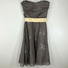 Odille Anthropologie Strapless Dress Size 8 Peppermint Tea Brown Floral Cotton