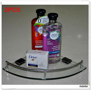 BATHROOM SHOWER CORNER GLASS SHELF ANTI RUST 304 STAINLESS STEEL X2PCS 235MM