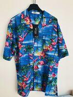 Mens Hawaiian Shirt Short Sleeve Beach Aloha Party Holiday Blue M Medium New