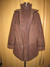 Damen Mantel von CLARINA - Gr.42 - Dunkelbraun - Lederimitat -Wattiert/gefüttert