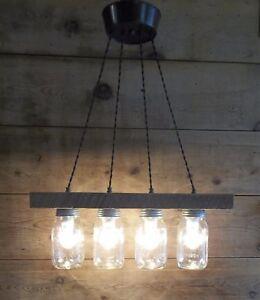 """Farm LIGHT FIXTURE Barn Wood Light Bar 4 Mason Jar Light 23""""Farmhouse Chandelier"""