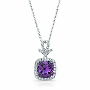 Purple Amethyst Diamond Cushion Pendant Necklace 14k White Gold Natural 2.42TCW