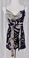 ELIE TAHARI~M~Sleeveless Top W/ Waist Tie~Velvety Blue On Semi Sheer White