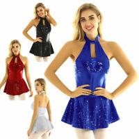Adult Women Halter Neck Latin Ballet Dance Dress Gymnastic Leotard Stage Costume