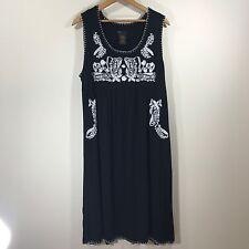 GRACE ELEMENTS XXL Women's Dress Embroidered Black White Indian Sari Southwest