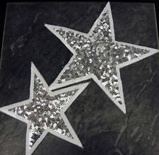 Silver Star patch sequin applique sew on Small or Large Dancing School Costume