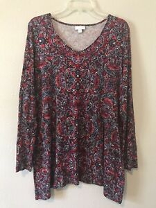 J. Jill Long Sleeve Paisley Tunic Top Red Blue Size Medium