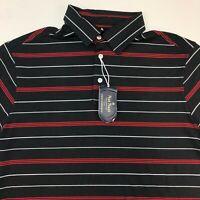 NWT Nat Nast Performance Polo Shirt Men's Medium Short Sleeve Black White Red