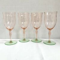 4 Tiffin Watermelon Diamond Optic Tulip Goblet Pink + Green Elegant Glass Set
