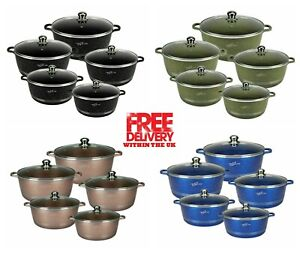 Tri-Star 5PC Cookware Set Non Stick Marble Coated Stockpot Casserole Cooking Pot