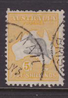 AUSTRALIA KANGAROO 5/- Grey & Yellow CofA Wmk FINE USED SG 135 (LB85)