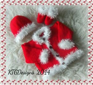 Easy dk knitting pattern instructions to knit baby xmas santa cardigan set